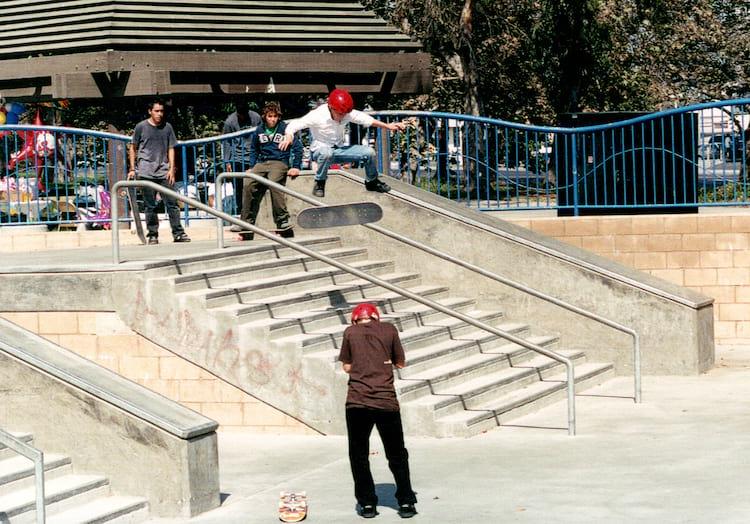 Matt Bublitz young photo kickflip santa ana skatepark