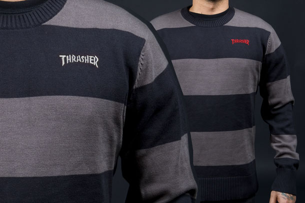 11f324d91f3e A Quality cotton blend knitted sweater, with Thrasher logo embroidered on  the front in red or silver. Available in sizes S-XL. Look for it to be in  stock ...