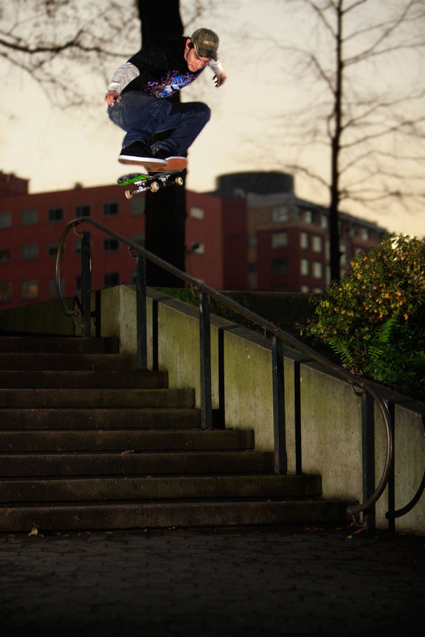 Silent_mike_Kickflip_over_Rail_And_stairs_pdx_