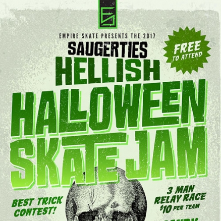 <span class='eventDate'>October 28, 2017</span><style>.eventDate {font-size:14px;color:rgb(150,150,150);font-weight:bold;}</style><br />Hellish Halloween Skate Jam