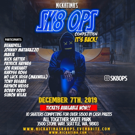 <span class='eventDate'>December 07, 2019</span><style>.eventDate {font-size:14px;color:rgb(150,150,150);font-weight:bold;}</style><br />Andre Nickatina&#039;s &quot;SK8 OPS&quot; Contest