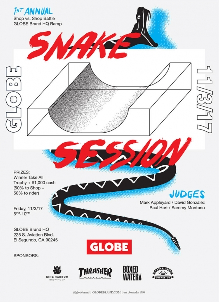 <span class='eventDate'>November 03, 2017</span><style>.eventDate {font-size:14px;color:rgb(150,150,150);font-weight:bold;}</style><br />Globe's Snake Session