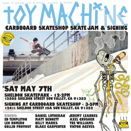 <span class='eventDate'>May 07, 2016</span><style>.eventDate {font-size:14px;color:rgb(150,150,150);font-weight:bold;}</style><br />Toy Machine Skate Jam