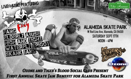 <span class='eventDate'>September 17, 2016</span><style>.eventDate {font-size:14px;color:rgb(150,150,150);font-weight:bold;}</style><br />Skate Jam Benefit for Alameda Skatepark