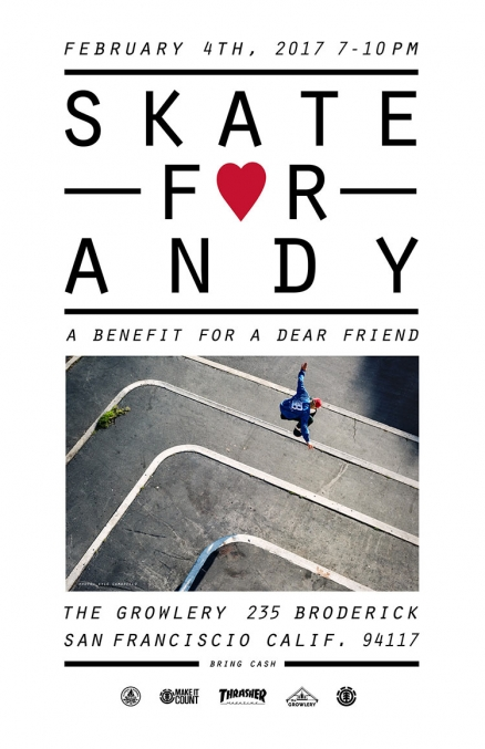 <span class='eventDate'>February 04, 2017</span><style>.eventDate {font-size:14px;color:rgb(150,150,150);font-weight:bold;}</style><br />Skate for Andy Benefit