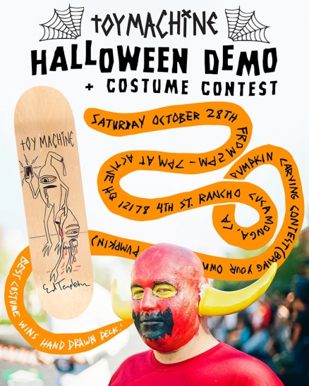 <span class='eventDate'>October 28, 2017</span><style>.eventDate {font-size:14px;color:rgb(150,150,150);font-weight:bold;}</style><br />Toy Machine Halloween Demo 2017