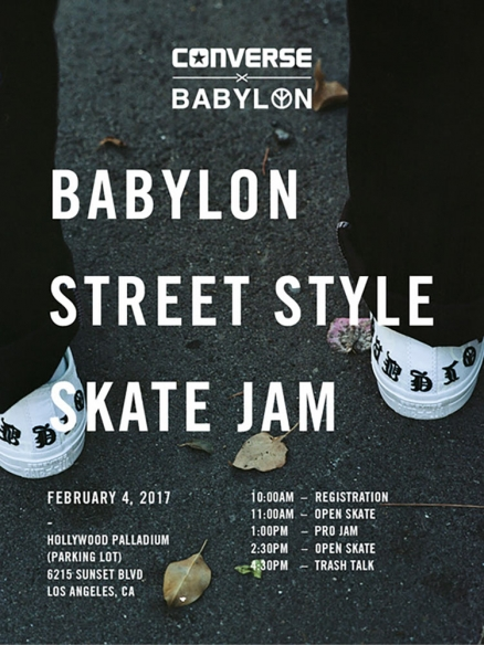 <span class='eventDate'>February 04, 2017</span><style>.eventDate {font-size:14px;color:rgb(150,150,150);font-weight:bold;}</style><br />Converse x Babylon Street Style Skate Jam