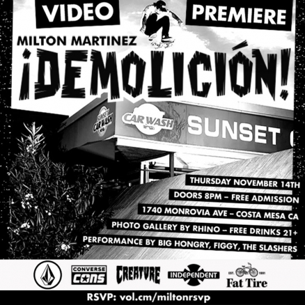 <span class='eventDate'>November 14, 2019</span><style>.eventDate {font-size:14px;color:rgb(150,150,150);font-weight:bold;}</style><br />Milton Martinez&#039;s ¡DEMOLICIÓN! Video Premiere