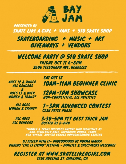 <span class='eventDate'>October 12, 2019</span><style>.eventDate {font-size:14px;color:rgb(150,150,150);font-weight:bold;}</style><br />Bay Jam Skate Contest