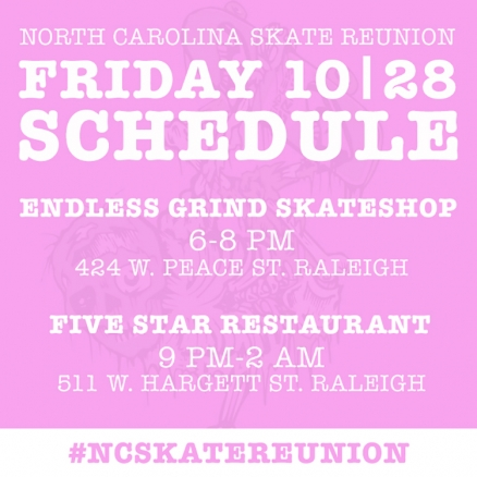<span class='eventDate'>October 28, 2016 - October 29, 2016</span><style>.eventDate {font-size:14px;color:rgb(150,150,150);font-weight:bold;}</style><br />North Carolina Skate Reunion