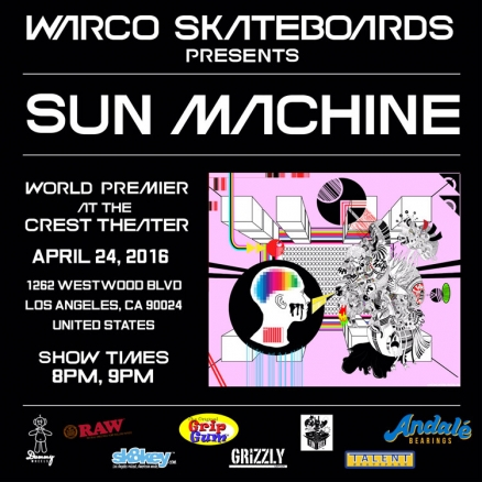 "<span class='eventDate'>April 24, 2016</span><style>.eventDate {font-size:14px;color:rgb(150,150,150);font-weight:bold;}</style><br />Warco's ""Sun Machine"" Premiere"