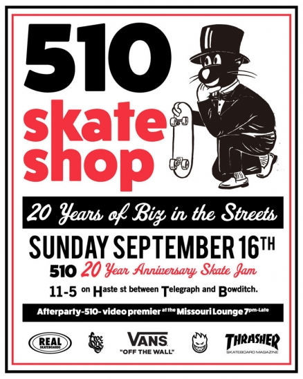 <span class='eventDate'>September 16, 2018</span><style>.eventDate {font-size:14px;color:rgb(150,150,150);font-weight:bold;}</style><br />510 20 Year Anniversary Skate Jam