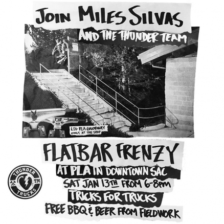 <span class='eventDate'>January 13, 2018</span><style>.eventDate {font-size:14px;color:rgb(150,150,150);font-weight:bold;}</style><br />Flatbar Frenzy with Miles Silvas